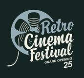 Retro cinema festival poster with film strip reel. Vector retro cinema festival poster with old film strip reel and calligraphic inscription. Cinema banner, can stock illustration