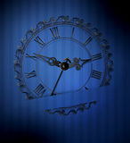 Vector retro clock on a blue striped background Stock Photo