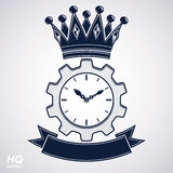 Vector retro cog wheel and clock with crown Stock Photography