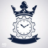 Vector retro cog wheel and clock with crown, business organizer symbol. Production process planning conceptual icon. Royalty Free Stock Image