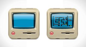Vector retro computer square XXL icon Royalty Free Stock Photo