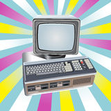 Vector retro computer on vintage background Royalty Free Stock Photo