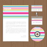 Vector retro corporate identity template. Vector corporate identity template with color stripes. Eps10 Royalty Free Stock Photography