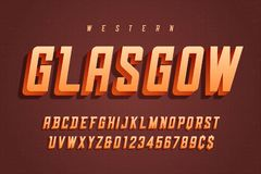 Vector retro 3d display font design, alphabet, typeface, letters royalty free illustration