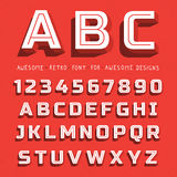 Vector Retro 3D Font with shadow. Vintage Alphabet on grunge background Royalty Free Stock Photo