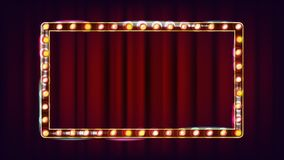 Vector retro de la cartelera Tablero ligero brillante de la muestra Marco realista de la lámpara del brillo elemento que brilla i stock de ilustración