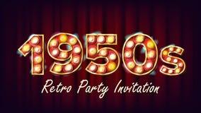 vector retro de la invitación del partido de los años 50 Diseño de 1950 estilos Bulbo de lámpara del brillo Dígito que brilla int libre illustration