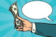Vector retro de las finanzas del dinero de los dólares del efectivo ilustración del vector