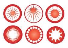 Vector retro de los iconos del sol Imagen de archivo libre de regalías