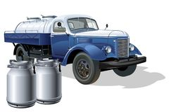 Vector retro delivery milk tanker truck. Available eps-10 vector format separated by groups and layers for easy edit Royalty Free Stock Photography