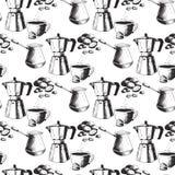 Vector retro dibujado mano del postre del bosquejo del café del modelo de la producción del café del fondo del vintage de la bebi libre illustration