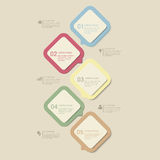 Vector retro dusk process steps infographics template background. Simple pastel retro dusk multi color 5 step process steps labels infographics mockup template Royalty Free Stock Image