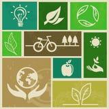 Vector retro etiketten met ecologietekens Royalty-vrije Stock Afbeeldingen