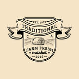 Vector retro farm fresh logotype. Organic premium quality products logo. Vintage hand sketched haystack icon. Royalty Free Stock Images