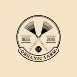 Vector retro farm fresh logotype. Organic quality products logo. Eco food sign. Vintage hand sketched pitchforks icon. Vector retro farm fresh logotype. Organic Royalty Free Stock Photography