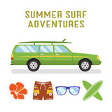 Vector retro flat surf car design and elements - surfboards, glasses, flower. Best summer vacation, beach recreation Royalty Free Stock Images