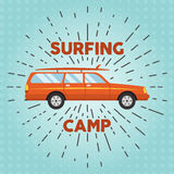 Vector retro flat web banner design on surfing Royalty Free Stock Images