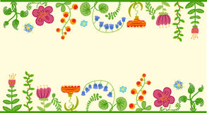 Vector retro floral background, frame Royalty Free Stock Photo
