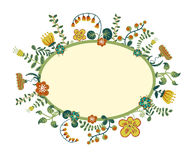 Vector retro floral background, frame Stock Photography