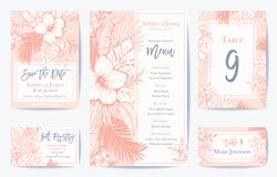 Vector Retro Floral Exotic Tropical Wedding Save the Date, Menu Card Set. See portfolio for matching invitation set. Vector Retro Vintage Coral Tropical Wedding royalty free illustration