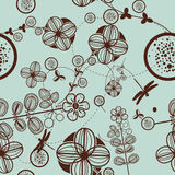 Vector Retro Floral (Seamless Pattern) stock image