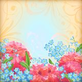 Vector retro flowers roses background Stock Photo