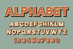 Vector of retro font and alphabet. Vector of retro colorful font and alphabet Royalty Free Stock Photography