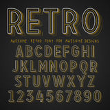 Vector Retro Font with shadow. Vintage Alphabet on grunge background Vector Illustration