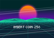 Vector Retro Futurism Old VHS Style Landscape 1980s Style. Digital retro Landscape Planet Cyber surface. High Quality Vector Illustration in EPS 10 Stock Images