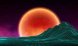 Vector retro futuristic background. Digital retro landscape in1980s style. Retro Sci-Fi Background Stock Photos