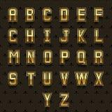 Vector retro golden alphabet Stock Photos