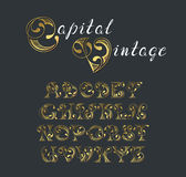 Vector retro graphical decorative font. Stock Photo