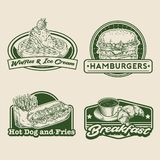 Retro hand drawing fast food badge set Stock Image
