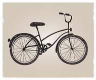 Vector retro hand drawn bicycle silhouette Royalty Free Stock Photos