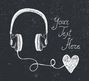 Vector retro hand drawn doodle headphones, earphones with heart Stock Image