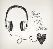 Vector retro hand drawn doodle headphones, Stock Image