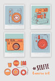 Vector retro hand drawn old- fashioned photo camera isolated in. Polaroid frame Stock Photos