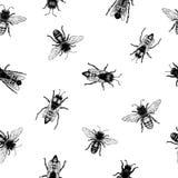 Vector Retro- Hand gezeichnetes nahtloses Muster mit kriechenden Bienen Abbildung der roten Lilie Intelligente Illustration Lizenzfreies Stockbild