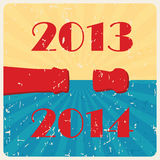 Vector retro happy new year card. Retro happy new year card ( illustration Stock Images