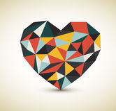 Vector retro heart. Made from color triangles Stock Photo