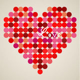 Vector retro heart. Made from color circles Royalty Free Stock Image
