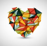 Vector retro heart made from color triangles Royalty Free Stock Image