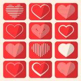 Vector Retro Hearts Set Royalty Free Stock Photography