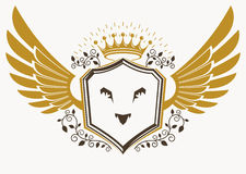 Vector retro heraldic template created using eagle wings and mad Stock Photography