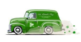 Vector retro het beeldverhaalbestelwagen van Heilige Patrick ` s Stock Foto