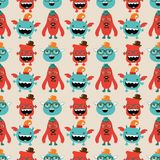 Vector Retro Hipster Monsters Seamless Pattern Royalty Free Stock Photography