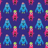 Vector Retro Hipster Monsters Seamless Pattern Stock Image
