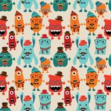 Vector Retro Hipster Monsters Seamless Pattern Stock Photos