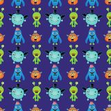 Vector Retro Hipster Monsters Seamless Pattern Royalty Free Stock Image