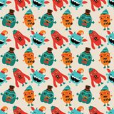 Vector Retro Hipster Monsters Seamless Pattern Royalty Free Stock Photos